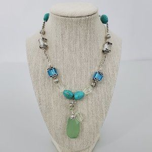 Avon Blue Green Beaded Necklace Silver Tone Drop D